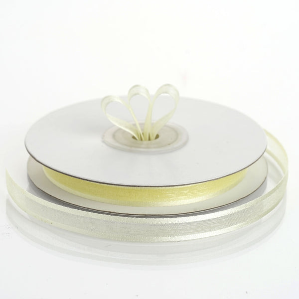 "25 Yards 3/8"" Yellow Organza Ribbon with Satin Edge - Clearance SALE"