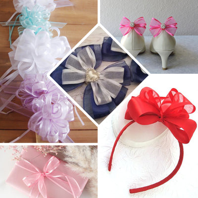 "25 Yards | 7/8"" DIY Silver Organza Ribbon With Satin Edge"