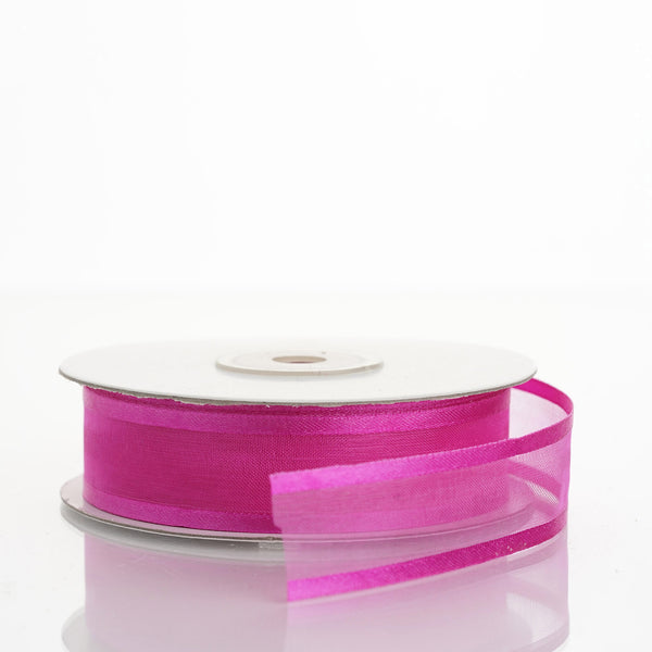 "25 Yards | 7/8"" DIY Fushia Organza Ribbon With Satin Edge"