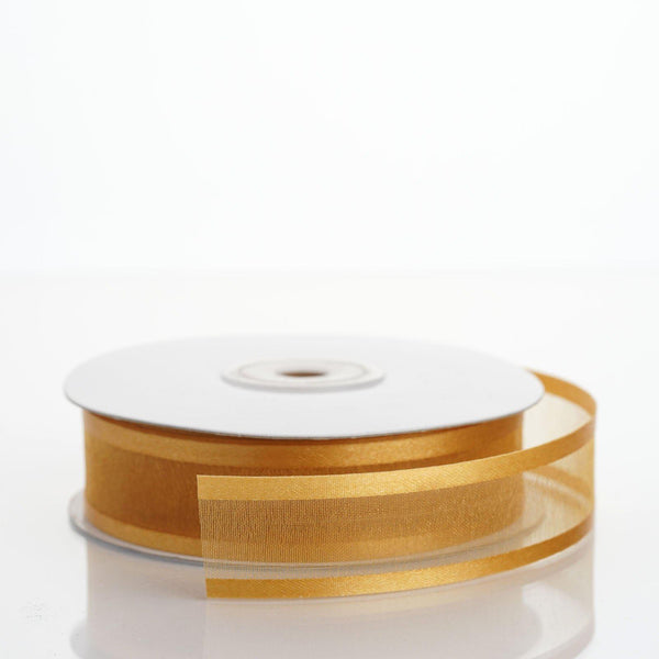 "25 Yards | 7/8"" DIY Gold Organza Ribbon With Satin Edge"