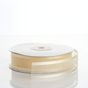 "25 Yard 7/8"" DIY Ivory Organza Ribbon With Satin Edges"