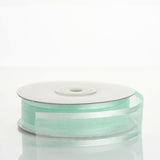 "25 Yard 7/8"" DIY Mint Organza Ribbon With Satin Edges"