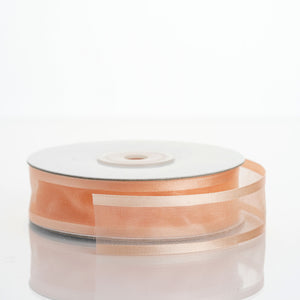 "25 Yard 7/8"" DIY Peach Organza Ribbon With Satin Edges"
