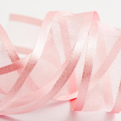 "25 Yards | 7/8"" DIY Pink Organza Ribbon With Satin Edge"