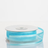 "25 Yard 7/8"" DIY Turquoise Organza Ribbon With Satin Edges"