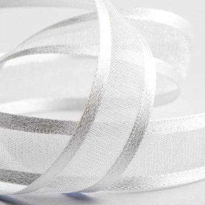 "25 Yards | 7/8"" DIY White Organza Ribbon With Satin Edge"