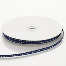 1/4 Inch x 25 Yards | Navy Blue Stitched Ribbons | TableclothsFactory