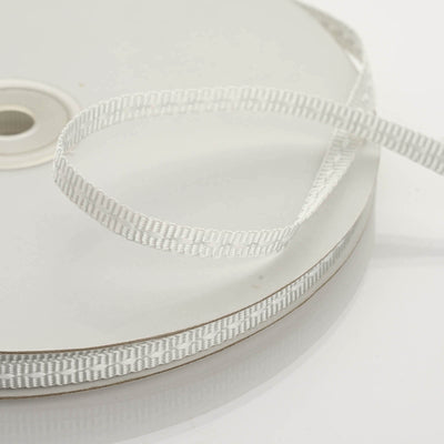 "25 Yard 1/4"" Silver Stitched Ribbon"