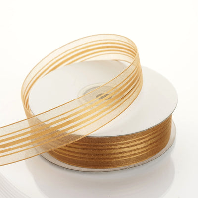 "25 Yard 7/8"" DIY Gold Organza Ribbon With Satin Stripes"