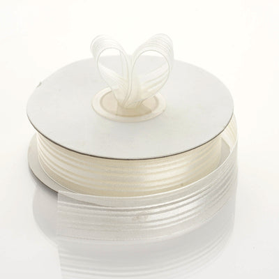 "25 Yard 7/8"" DIY Ivory Organza Ribbon With Satin Stripes"