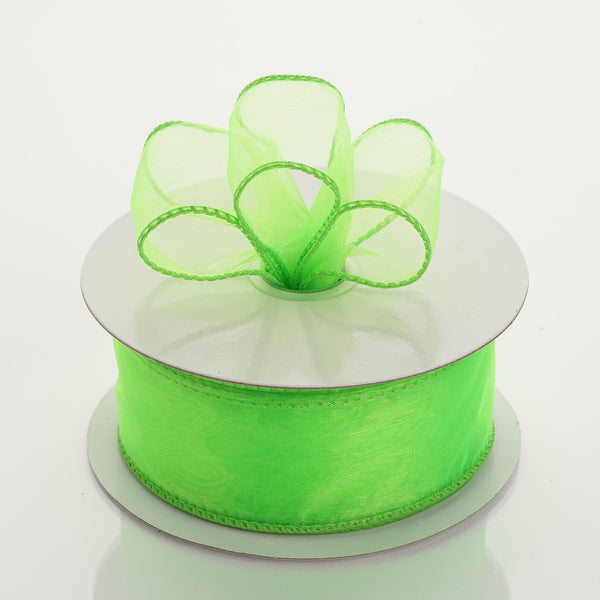 "10 Yards 1.5"" Apple Green Wired Edge Organza Ribbon"