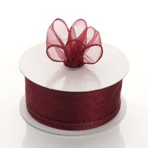 "10 Yards 1.5"" Burgundy Wired Edge Organza Ribbon"