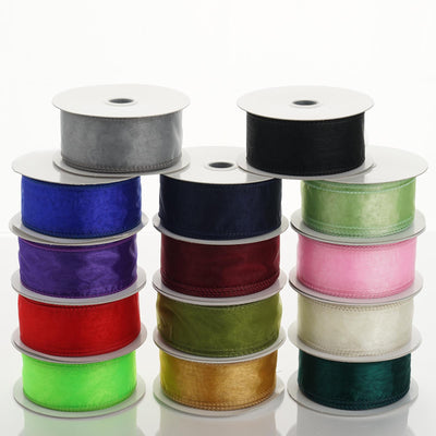 10 Yards | 1.5 Inch Organza Wired Edge Ribbon | TableclothsFactory