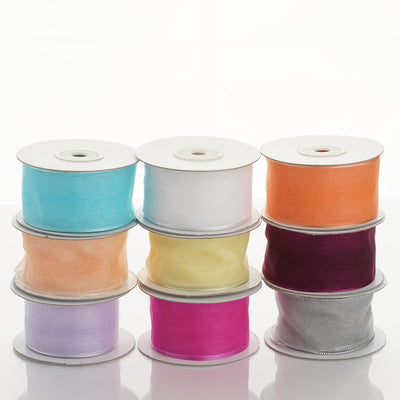 "10 Yards 1.5"" Peach Wired Edge Organza Ribbon"