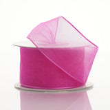 "10 Yards 1.5"" Fushia Wired Edge Organza Ribbon"