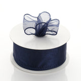 "10 Yards 1.5"" Navy Blue Wired Edge Organza Ribbon"