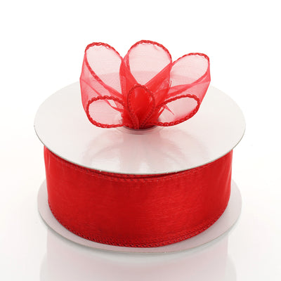"10 Yards 1.5"" Red Wired Edge Organza Ribbon"