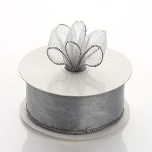 "10 Yards 1.5"" Silver Wired Edge Organza Ribbon"