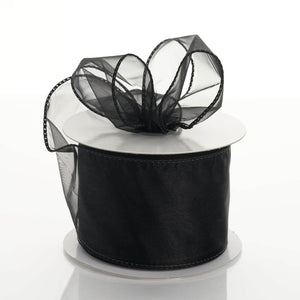 "10 Yards 2.5"" DIY Black Wired Organza Ribbon"