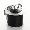 "10 Yards 2.5"" Black Wired Edge Organza Ribbon"