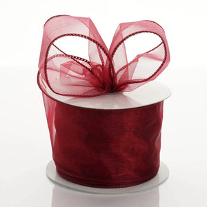 "10 Yards 2.5"" Burgundy Wired Edge Organza Ribbon"