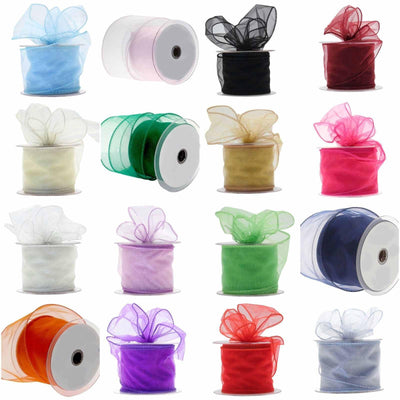 "10 Yards 2.5"" DIY White Wired Organza Ribbon"