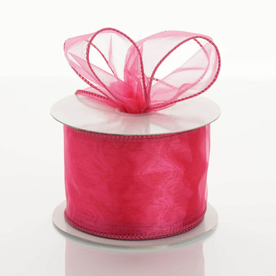 "10 Yards 2.5"" Fushia Wired Edge Organza Ribbon"