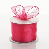 "10 Yards 2.5"" DIY Fushia Wired Organza Ribbon"