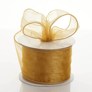 "10 Yards 2.5"" Gold Wired Edge Organza Ribbon"