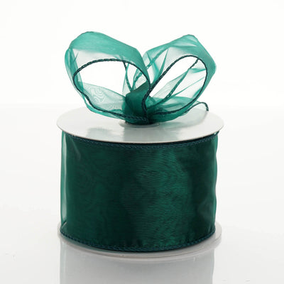 "10 Yards 2.5"" Hunter Emerald Green Wired Edge Organza Ribbon"