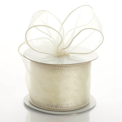 "10 Yards 2.5"" Ivory Wired Edge Organza Ribbon"