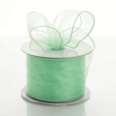 "10 Yards 2.5"" Mint Wired Edge Organza Ribbon"