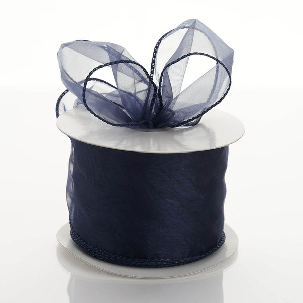 "10 Yards 2.5"" Navy Blue Wired Edge Organza Ribbon"