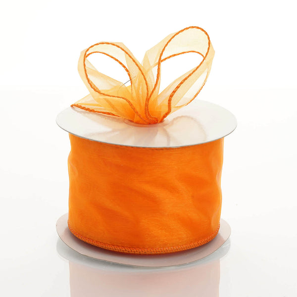 "10 Yards 2.5"" Orange Wired Edge Organza Ribbon"