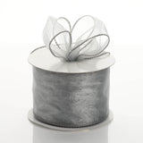 "10 Yards 2.5"" Silver Wired Edge Organza Ribbon"
