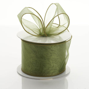 "10 Yards 2.5"" Moss Green Organza Wired Edge Ribbon#whtbkgd"