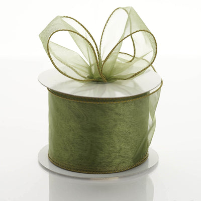 "10 Yards 2.5"" DIY Moss/Willow Wired Organza Ribbon"