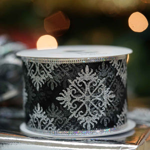 "10 Yards 2.5"" Silver Falling Snow Design Shiny Edge Wired Ribbon DIY Craft Decoration"