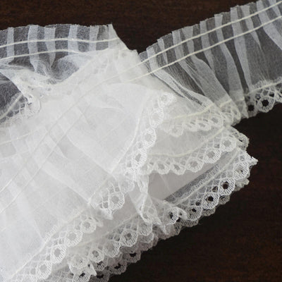 25 YARD Ruffle Lace Trim With Chiffon Fabric For Dress Craft Sewing Trimming  - WHITE