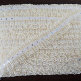 25 YARD Ruffle Lace Trim With Sequin Beads For Dress Craft Sewing Trimming  - IVORY