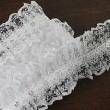 25 YARD Ruffle Lace Trim With Sequin Beads For Dress Craft Sewing Trimming  - WHITE