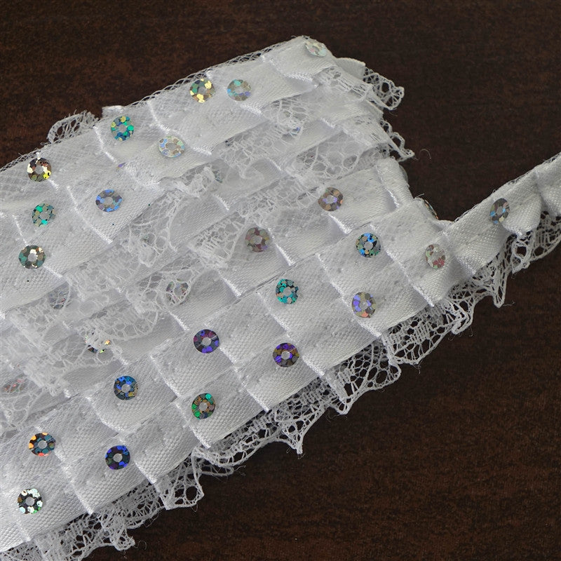 "Lily 60/"" White Embroidered Organza Fabric Dot Pattern Embroidery Lace by Yardage"