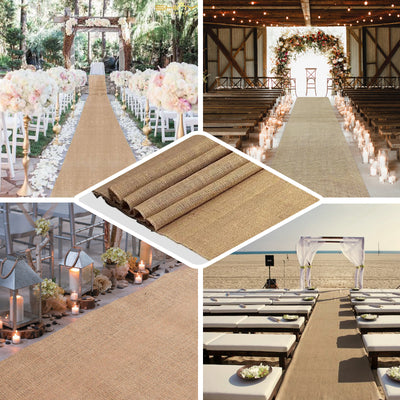 "36"" x 100ft All Natural Jute Burlap Aisle Runner"
