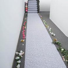36 Inch x 100ft White Floral Lace Aisle Runner