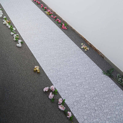 36 Inch x 50ft White Floral Lace Aisle Runner