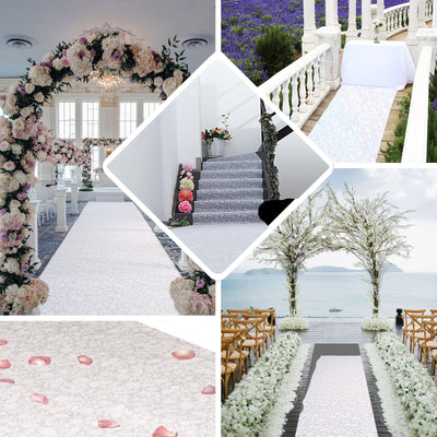 "36""x 100ft White Floral Lace Aisle Runner"