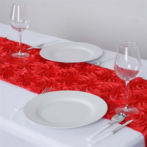 "14""x108"" Coral Grandiose Rosette Satin Table Runner - Clearance SALE"