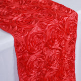 "14""x108"" Coral Grandiose Rosette Satin Table Runner"