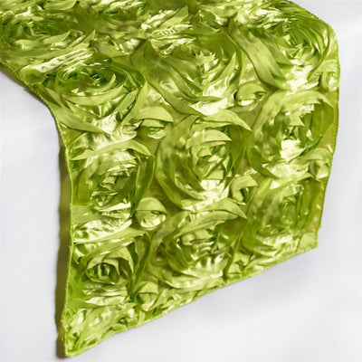 "14""x108"" Grandiose Rosette Satin Runner For Table Top Wedding Catering Party Event Decorations - Apple Green"