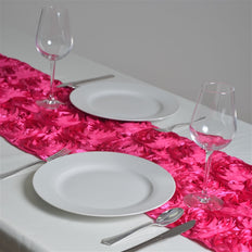 "14""x108"" Grandiose Rosette Satin Runner For Table Top Wedding Catering Party Event Decorations - Fushia"